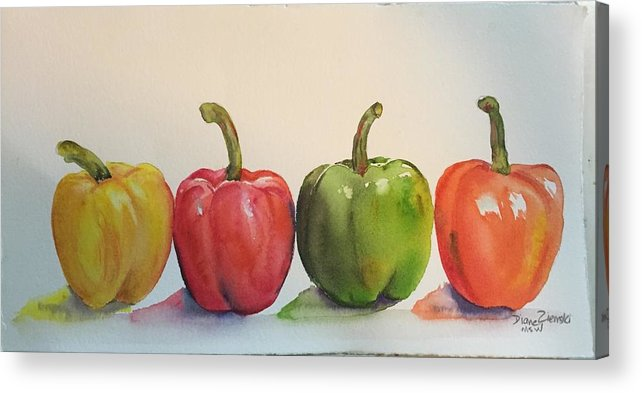 Watercolor Acrylic Print featuring the painting Peppers four by Diane Ziemski