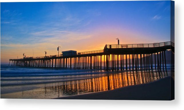 Nature Acrylic Print featuring the photograph Pismo Beach and Pier Sunset by Zayne Diamond Photographic