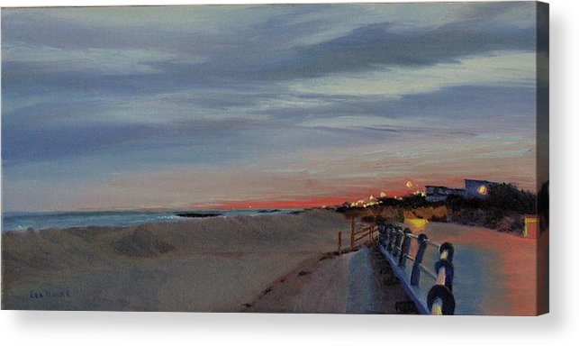 Sunset Acrylic Print featuring the painting Sunset On The Boardwalk by Lea Novak