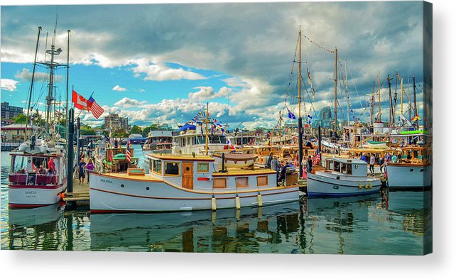Boats Acrylic Print featuring the photograph Victoria Harbor old boats by Jason Brooks