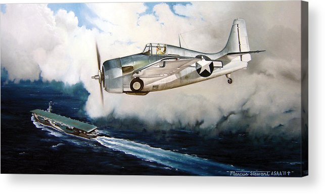 Wwii Acrylic Print featuring the painting Wildcat Home by Marc Stewart