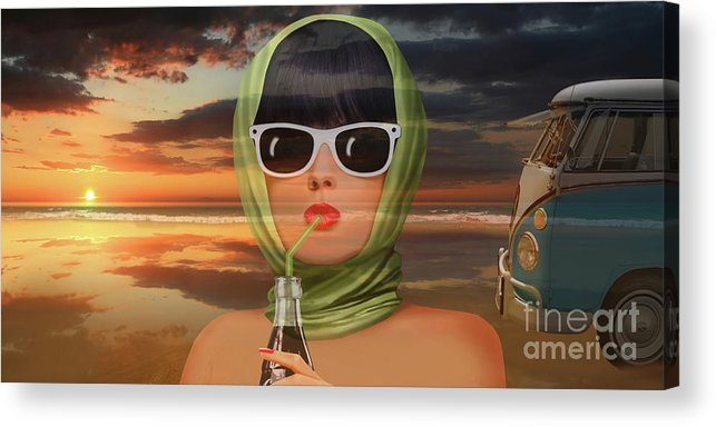 Bulli Acrylic Print featuring the digital art A touch of summer from the 60s by Monika Juengling