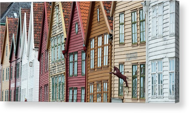 Panoramic Acrylic Print featuring the photograph Colourful Houses In A Row by Keith Levit / Design Pics