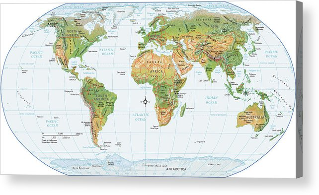 Equator Acrylic Print featuring the digital art World Map, Physical by Globe Turner, Llc