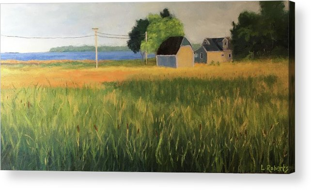 Marsh Acrylic Print featuring the painting Marshview, Leaman Rd by Laura Roberts