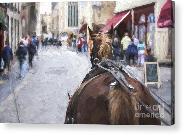Horse Acrylic Print featuring the photograph Horse carriage in Brugge by Sheila Smart Fine Art Photography
