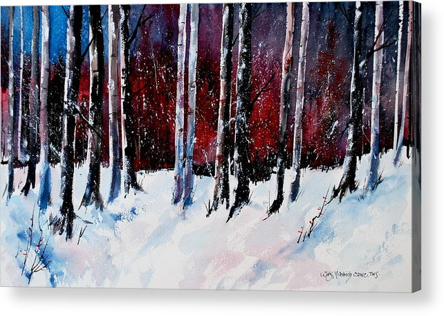 Winter Snow Forest Birch Trees Acrylic Print featuring the painting Ladies of the Forest by Wilfred McOstrich