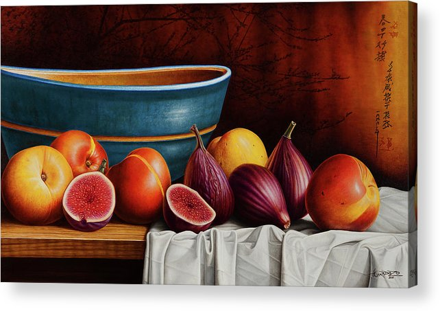 Fruit Acrylic Print featuring the painting Peaches and Figs by Horacio Cardozo