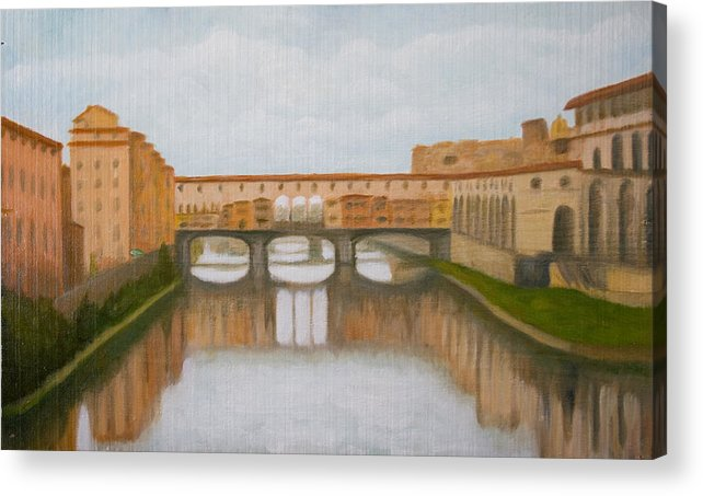 Landscape Acrylic Print featuring the painting Ponte Vecchio by Stephen Degan