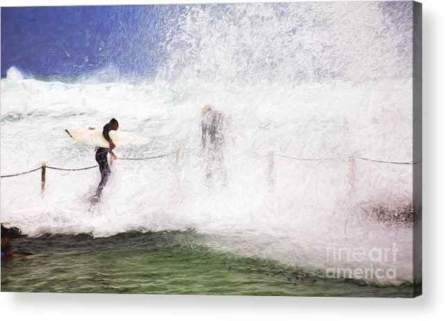Surf Acrylic Print featuring the photograph Surfers at rockpool by Sheila Smart Fine Art Photography