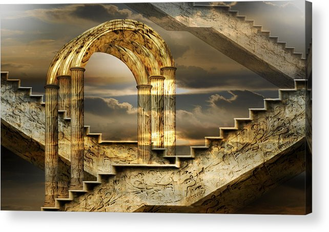 Arch Surrealism Clouds Collage Column Engraving Fantastic Golden Magic Marble Pillar Sky Stairs Acrylic Print featuring the photograph Arches of possibility by Desislava Draganova