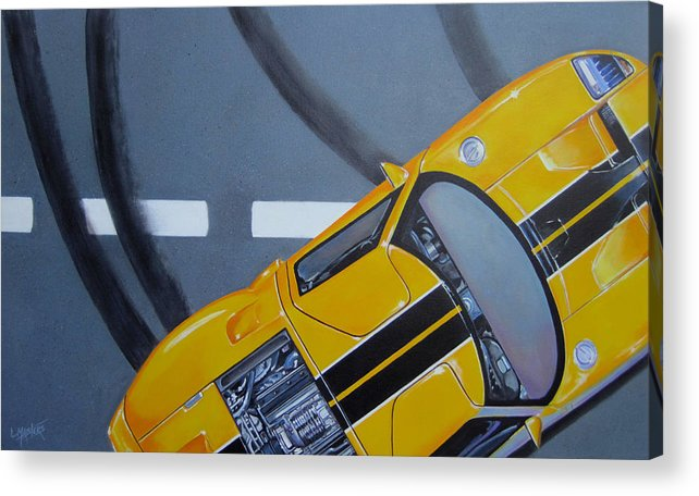 Car Acrylic Print featuring the painting Out For A Spin by Lynn Masters