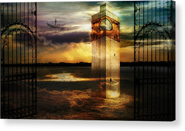 Surrealism Clouds Dream Dusk Italy Gates Legend Rays Sea Shore Sky Gondola Sunset Tower Doorway Way Acrylic Print featuring the photograph Sands of memory by Desislava Draganova
