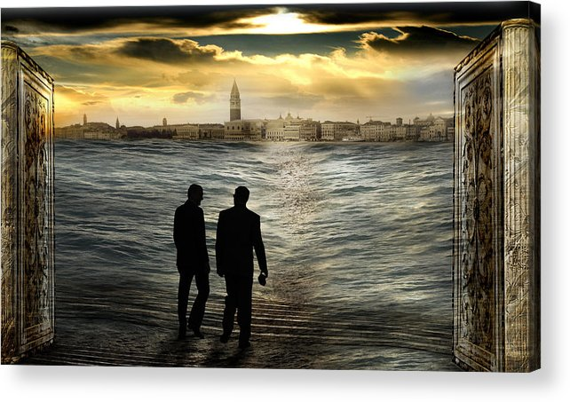 Clouds Doorway Gate Surrealism Horizon Italy Pillar Sea Silhouette Sky Sunset Surrealism Tide Venice Acrylic Print featuring the photograph Unreal way to a real dream by Desislava Draganova