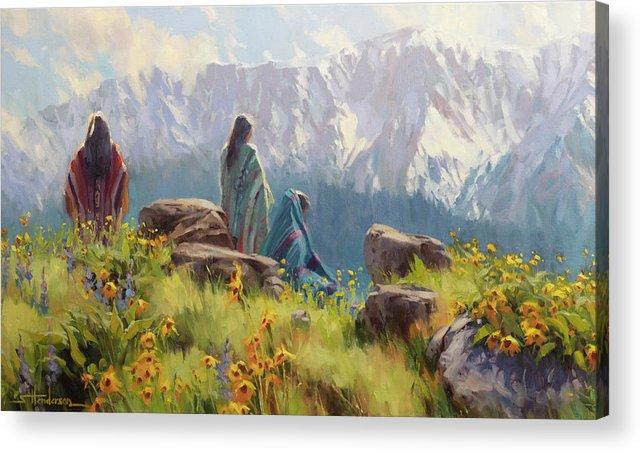 Nez Perce Acrylic Print featuring the painting This Was Our Shangri-La by Steve Henderson