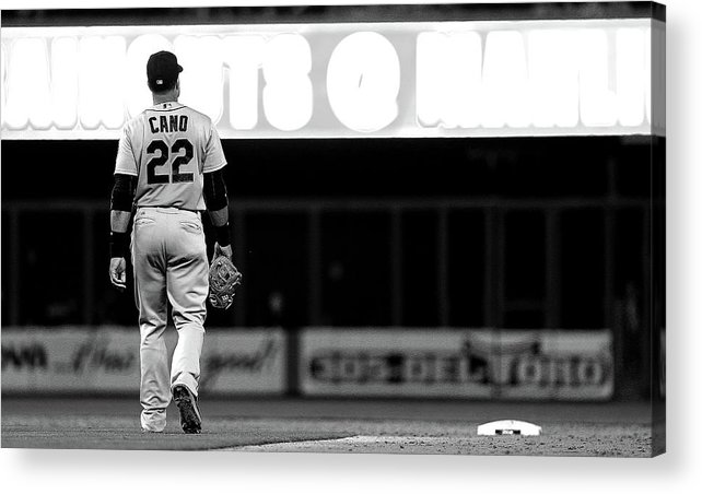 American League Baseball Acrylic Print featuring the photograph Seattle Mariners V Miami Marlins by Mike Ehrmann