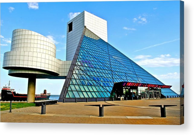 Rock Acrylic Print featuring the photograph Rock and Roll Hall of Fame by Frozen in Time Fine Art Photography