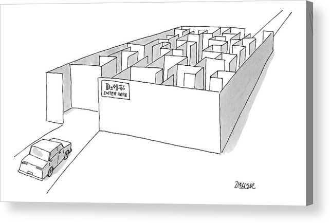 Dmv Acrylic Print featuring the drawing A Car Is Entering A Maze Labeled by Jack Ziegler