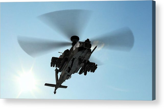 Wind Acrylic Print featuring the photograph Armed Longbow Apache Helicopter In by Bestgreenscreen