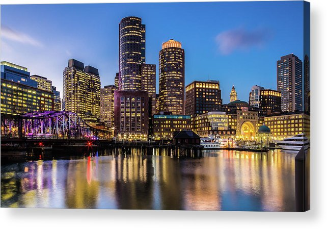 Downtown District Acrylic Print featuring the photograph Boston Skyline At Sunset by (c) Swapan Jha