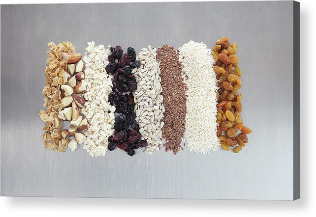 Nut Acrylic Print featuring the photograph Raw Nuts, Dried Fruit And Grains by Laurie Castelli