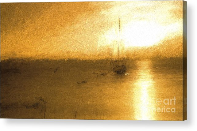Turneresque Acrylic Print featuring the photograph Sunrise with yacht by Sheila Smart Fine Art Photography
