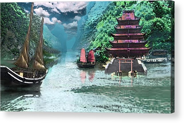 Landscape Acrylic Print featuring the digital art Temple on the Yangzte by Steve Karol