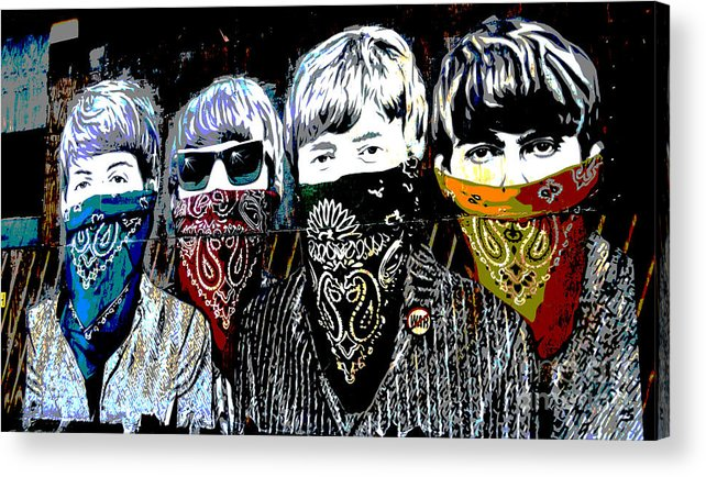 Banksy Acrylic Print featuring the photograph The Beatles wearing face masks by RicardMN Photography