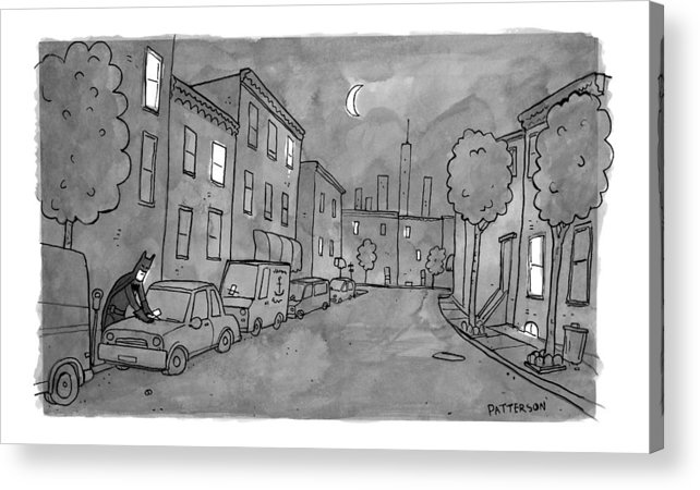 Batman Acrylic Print featuring the drawing Title: Slow Night by Jason Patterson