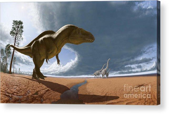 Paleoart Acrylic Print featuring the digital art Acrocanthosaurus by Julius Csotonyi