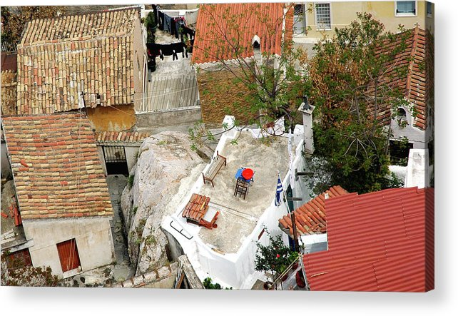 Athens Acrylic Print featuring the photograph Athens Rooftop Oasis by John Banegas
