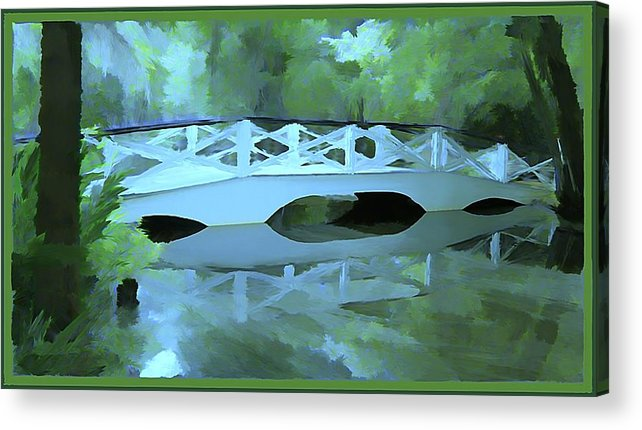 Bridge Acrylic Print featuring the painting Blue Bridge in Magnolia by Mindy Newman