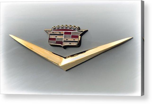 Cadillac Acrylic Print featuring the digital art Gold Badge Cadillac by Douglas Pittman