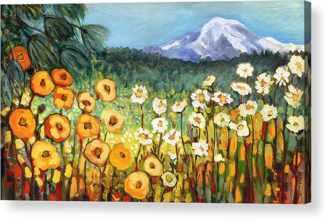 Rainier Acrylic Print featuring the painting A Mountain View by Jennifer Lommers