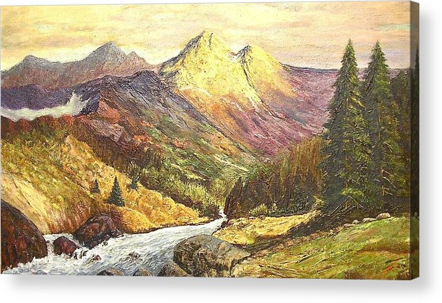 Mountains Acrylic Print featuring the painting Rocky Mountains by Nicholas Minniti