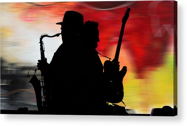 Bruce Springsteen Watercolor Portrait On Worn Distressed Canvas Mixed Media Mixed Media Acrylic Print featuring the mixed media Bruce Springsteen Clarence Clemons by Marvin Blaine