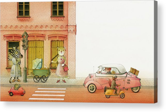 Striped Zebra Cat Cars Street Traffic Old Town Red Children Illustration Book Animals Acrylic Print featuring the drawing A Striped Story02 by Kestutis Kasparavicius