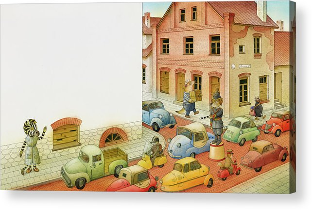 Striped Zebra Dog Traffic Cars Street Old Town City Animals Children Illustration Book Acrylic Print featuring the painting A Striped Story04 by Kestutis Kasparavicius