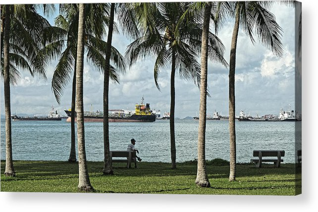 Beachfront Acrylic Print featuring the photograph Beachfront Park With Freighters, Singapore 2014 by Chris Honeyman