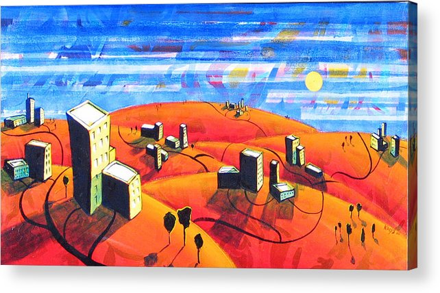 Landscape From Above Acrylic Print featuring the painting Cities And Towns by Rollin Kocsis