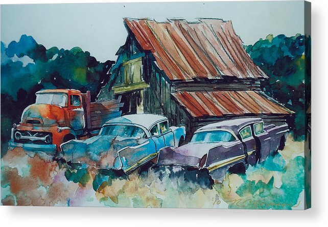 Ford Cabover Acrylic Print featuring the painting Cluster of Restorables by Ron Morrison