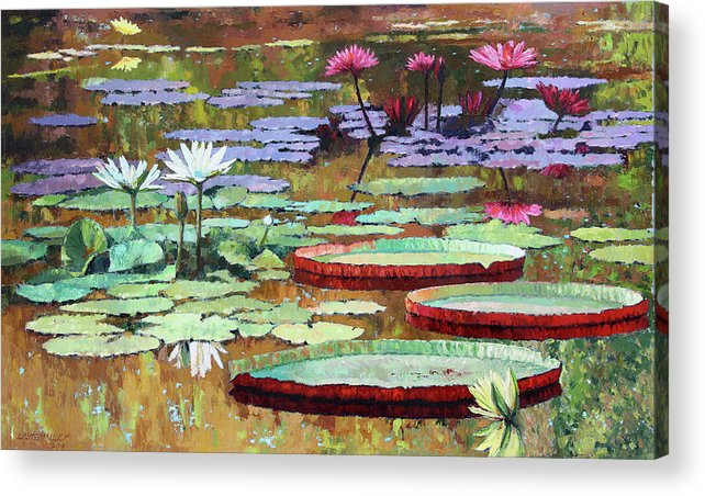 Garden Pond Acrylic Print featuring the painting Colors on the Lily Pond by John Lautermilch