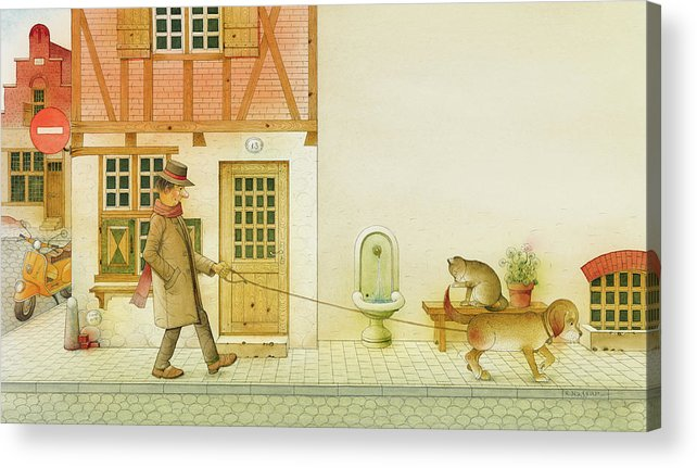 Dog Life City Old Town Street Cat House Illustration Children Book Drawing Animals Acrylic Print featuring the painting Dogs Life10 by Kestutis Kasparavicius