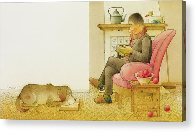 Dog Life Lifestyle Room Apartments Armchair Book Reading Illustration Children Drawing Animals Apples Acrylic Print featuring the painting Dogs Life13 by Kestutis Kasparavicius
