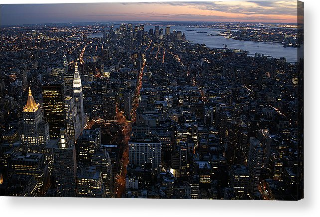 Manhattan Acrylic Print featuring the photograph Downtown from Midtown by Joshua Francia