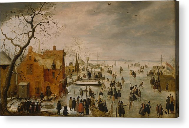 17th Century Art Acrylic Print featuring the painting Ice Landscape by Hendrick Avercamp