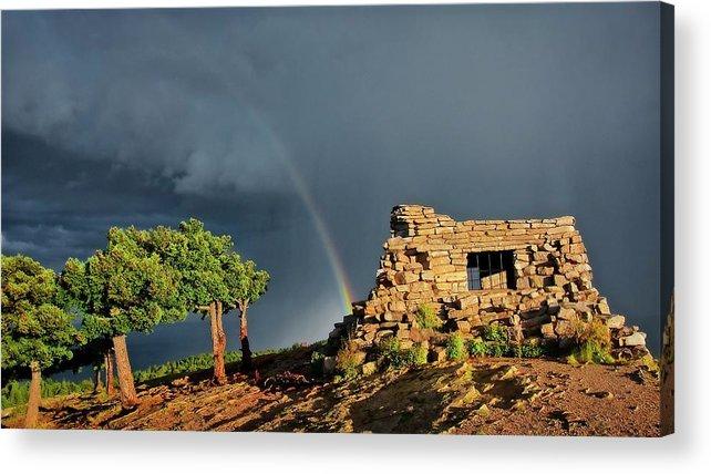 Nature Acrylic Print featuring the photograph Kawanis Cabin Rainbow, Sandia Crest, New Mexico by Zayne Diamond Photographic
