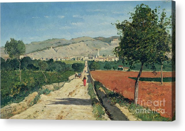 Fields Acrylic Print featuring the painting Landscape in Provence by Paul Camille Guigou