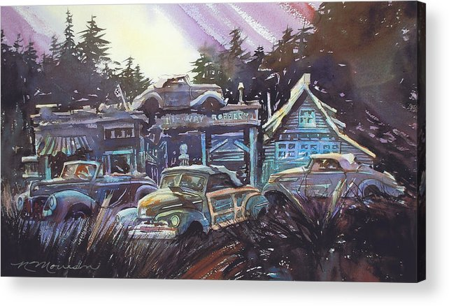 Ford Convertibles Acrylic Print featuring the painting Moonlight Cabriolets by Ron Morrison