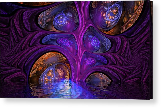 Fantasy Acrylic Print featuring the digital art Mystical Caves of Halyon by David Lane